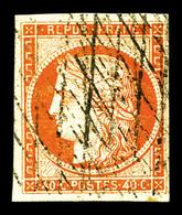 O N°5, 40c Orange, Oblitération Grille Sans Fin. TTB (signé Calves/certificat)   Qualité: O   Cote: 575 Euros - 1849-1850 Cérès