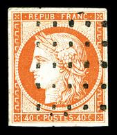 O N°5, 40c Orange Obl Gros Points. TTB (signé Margues/certificat)   Qualité: O   Cote: 525 Euros - 1849-1850 Cérès