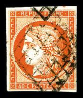 O N°5, 40c Orange, Oblitération Grille, TB (signé Calves)   Qualité: O   Cote: 500 Euros - 1849-1850 Cérès
