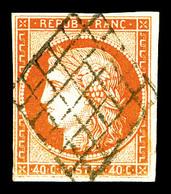 O N°5, 40c Orange, Oblitération Grille, Jolie Pièce, TB (certificat)   Qualité: O   Cote: 500 Euros - 1849-1850 Cérès