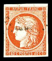 O N°5, 40c Orange. TB (signé Calves/certificat)   Qualité: O   Cote: 500 Euros - 1849-1850 Cérès
