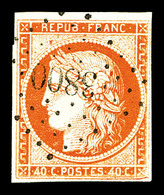 O N°5, 40c Orange Obl Pc '3800'. TB (signé Calves)   Qualité: O   Cote: 500 Euros - 1849-1850 Cérès