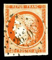 O N°5, 40c Orange Ob Pc. TB (signé Scheller/certificat)   Qualité: O   Cote: 500 Euros - 1849-1850 Cérès