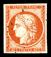 O N°5a, 40c Orange Vif Obl Legère, TTB (signé Brun/certificat)   Qualité: O   Cote: 575 Euros - 1849-1850 Cérès