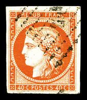 O N°5b, 40c Orange Foncé, Jolies Marges Et Très Jolie Couleur. TTB (signé Scheller/certificat)   Qualité: O   Cote: 700  - 1849-1850 Cérès