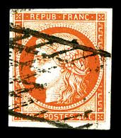O N°5b, 40c Orange Foncé Obl Grille Sans Fin. TB (signé Calves/certificat)   Qualité: O   Cote: 700 Euros - 1849-1850 Cérès