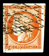 O N°5d, 40c Orange, Chiffres '4' Retouchés, Oblitération Grille Sans Fin, Un Voisin. SUP. R.R. (signé Calves/Brun/certif - 1849-1850 Cérès