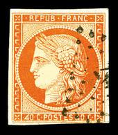 O N°5d, 40c Orange, Chiffres '4' Retouchés, Oblitération PC. SUP. R.R (signé Calves/certificat)   Qualité: O   Cote: 730 - 1849-1850 Cérès