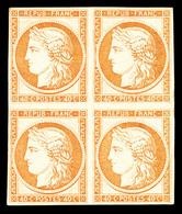 * N°5g, 40c Orange, Impression De 1862 En Bloc De Quatre, 1 Ex Froissure Dans Un Angle. TB (certificat)   Qualité: *   C - 1849-1850 Cérès