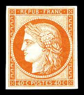 ** N°5A, 40c Orange, Quatre Belles Marges, Fraîcheur Postale, SUPERBE (signé Calves/certificats)   Qualité: ** - 1849-1850 Cérès