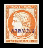* N°5, 40c Orange, Impression De 1862, Surchargé 'SPECIMEN'. SUP . R.R. (signé Scheller/certificats)   Qualité: * - 1849-1850 Cérès