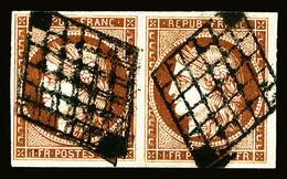 O N°6, 1F Carmin En Paire Horizontale, Grandes Marges, Très Jolie Pièce, TTB (signé Calves/certificat)   Qualité: O   Co - 1849-1850 Cérès