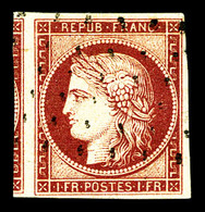 O N°6, 1f Carmin Obl Gros Points, Un Voisin. SUP (signé Calves/certificat)   Qualité: O   Cote: 950 Euros - 1849-1850 Cérès