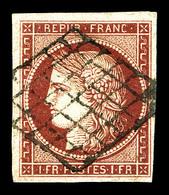 O N°6, 1f Carmin Obl Grille Légère. TTB (signé Brun/certificat)   Qualité: O   Cote: 1000 Euros - 1849-1850 Cérès