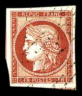 O N°6, 1f Carmin Obl Grille, Jolies Marges Avec 2 Voisins. TTB (signé Calves/certificats)   Qualité: O   Cote: 950 Euros - 1849-1850 Cérès