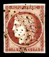 O N°6, 1F Carmin Obl étoile Légère. TB (certificat)   Qualité: O   Cote: 950 Euros - 1849-1850 Cérès
