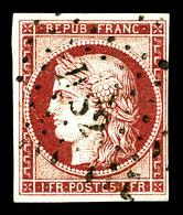 O N°6, 1f Carmin Obl Légère. TB (signé Brun/certificat)   Qualité: O   Cote: 1000 Euros - 1849-1850 Cérès