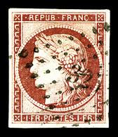 O N°6, 1f Carmin Obl Pc. TTB (signé Brun/certificat)   Qualité: O   Cote: 1000 Euros - 1849-1850 Cérès