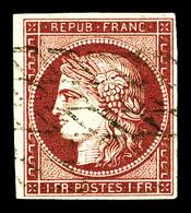 O N°6b, 1f Carmin Foncé Oblitéré Grille Sans Fin. Très Jolie Nuance. SUP (signé Brun/certificat)   Qualité: O   Cote: 11 - 1849-1850 Cérès
