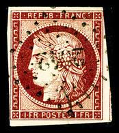 O N°6b, 1F Carmin Très Foncé Obl PC, Jolie Nuance, TTB (signé Scheller/certificat)   Qualité: O   Cote: 1000 Euros - 1849-1850 Cérès