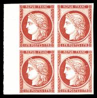 ** N°6f, 1F Carmin, Impression De 1862 En Bloc De Quatre Bord De Feuille Latéral, Fraîcheur Postale. SUPERBE. R. (certif - 1849-1850 Cérès