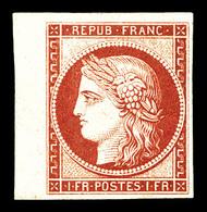 * N°6f, 1F Carmin, Impression De 1862 Bdf Latéral. TB (signé Calves)   Qualité: *   Cote: 900 Euros - 1849-1850 Cérès
