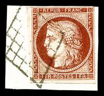 O N°6A, 1f Rougebrun Obl Grille Sur Son Support. TB. R.R. (certificat)   Qualité: O   Cote: 2700 Euros - 1849-1850 Cérès