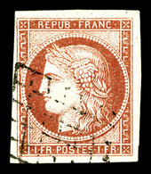 O N°6A, 1Fr Rougebrun, Froissures En Marge Supérieure, Très Belle Présentation. R.R. (signé Brun/Scheller/certificat)    - 1849-1850 Cérès
