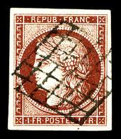 O N°6B, 1f Carminbrun Oblitéré Grille, Quatre Belles Marges. SUP (signé Brun/certificat)   Qualité: O   Cote: 1100 Euros - 1849-1850 Cérès