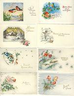 Lot De 8 Mignonnettes Heureuse Année Paysages De Neige  Oiseaux écureuil Fer à Cheval - Anno Nuovo