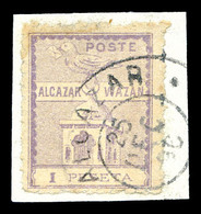 O MAROC POSTES LOCALES, N°14, 1p Violet Sur Son Support. TTB (certificat)   Qualité: O   Cote: 450 Euros - Marokko (1891-1956)