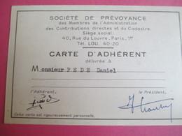 Doc Administratif/Carte D'Adhérent/Société De Prévoyance/Administration Contrib./Daniel PEDE/1960 - 1963        AEC133 - Other Collections