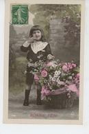 ENFANTS - Jolie Carte Fantaisie Portrait Petit Garçon Et Fleurs - Portraits