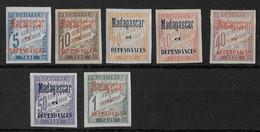 MADAGASCAR - TAXE YVERT N° 1/7 * - COTE = 280 EUROS - CHARNIERE - Madagascar (1889-1960)