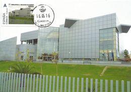"Spain Maxicard 2016– España Tarjeta Máxima Con Sello Personalizado De La ""Biblioteca J. Delgado Valhondo""  De Mérida - Architettura"