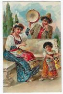 CPA Fantaisie Gaufrée Rare Gitans Bohémiens Gitan Bohémien Enfant Poupée Danse Tambourin 1906 - Europe