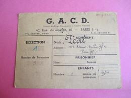 Militaria/Doc Administratif/G.A.C.D./Rue Du Louvre Paris/Distribution De Vin/Verres Vides Rendus/Daniel PEDE/1945 AEC136 - Other Collections
