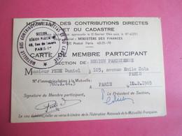 Doc Administratif/Mutuelle Des Contributions Directes Et Du Cadastre/Carte De Membre/ Daniel PEDE/1965 AEC137 - Other Collections