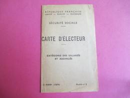 Doc Administratif/Carte D'immatriculation & D'Electeur Sécurité Sociale/Daniel PEDE/Paris/1962 Et  1947         AEC138 - Other Collections