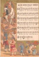 Chromo - Calendrier 1883 - NOUVEAUTES - Quand BIRON Voulut Danser - Petit Format : ...-1900