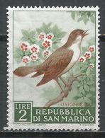 San Marino 1960. Scott #447 (M) Birds' Nightingale * - Saint-Marin