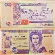 C) BELIZE BANK NOTE TWO DOLLARS UNC ND 2014 - Belize
