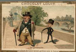 CHROMO CHOCOLAT LOUIT LA GRENOUILLE VOULANT DEVENIR AUSSI GROSSE QUE LE BOEUF - Louit