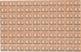 SI53D Italia Italy  Regno Colonie Segnatasse 1920 5 C. - Soprastampato Somalia Italiana, In Basso Nuovo MNH Blocco Da 80 - Somalia