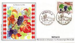 Enveloppe Cachet P.Jour La Vigne L'Automne  -MONACO Le 23.04.1987 - Vins & Alcools