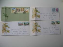 Lettre  Lot De  4 -  Seychelles  Pour La France  Thème Des Timbres Les Oiseaux  Les Animaux La Faune Et La Flore  à Voir - Seychelles (1976-...)