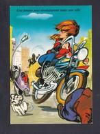 Carte Illustree Humour Une Femme Peut Revolutionner Toute Une Ville Moto Motarde Accident - Illustrators & Photographers