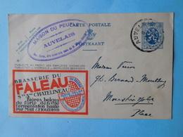 Carte Publicitaire 1934 Brasserie Du Faleau à Chatelineau & Cachet Auvelais Maison Du Peuple - Charleroi