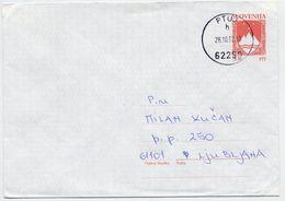 SLOVENIA 1992 5.00 T.  Arms  Postal Stationery Envelope On White Paper, Used.  Michel U1a - Slovenia
