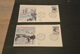 M3401-set In FDC   -  France 1962 - MI  1326-1327 - SC.  1019-1020 -  Championnat Mondial De Ski - Chamonix - 1960-1969